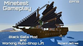 Minetest Gameplay EP179 Black Sails Mod and Working Auto-Shop Lift